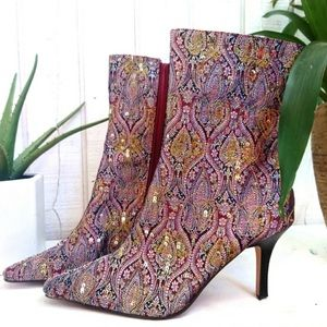 Anne Michelle Kerber Sequin Tapestry Paisley Boot